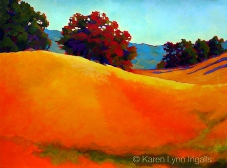 acrylic landscape painting of rural California, by Karen Lynn Ingalls