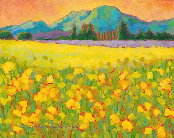 Napa Valley landscape painting vineyard mustard